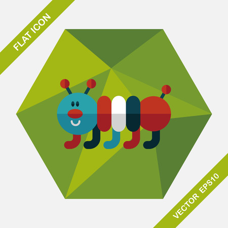 gusano caricatura: Caterpillar flat icon with long shadow,eps10 Vectores