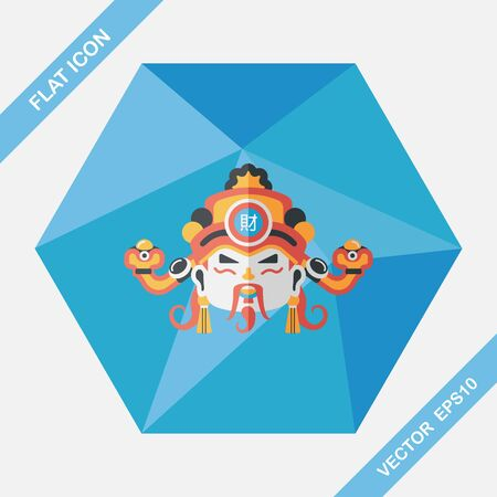 lucky man: Chinese New Year flat icon with long shadow,eps10, God of wealth