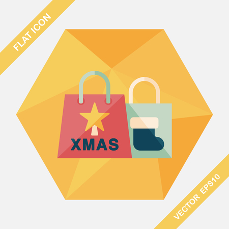 christmas shopping: Christmas shopping bag flat icon with long shadow,eps10
