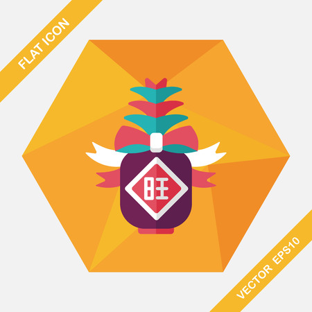 pineapple: Chinese New Year flat icon with long shadow, when you send pineapple for your friends in Chinese New Year means you wish them will be wealthy this year.