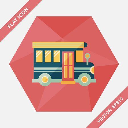 schoolbus: School Bus flat icon with long shadow,eps10