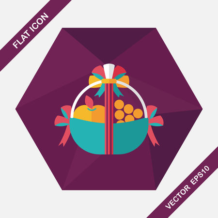 pineapple: Fruit gift baskets flat icon with long shadow,eps10