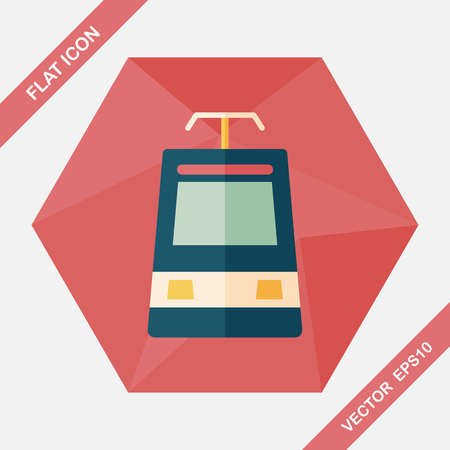 high speed railway: speed train flat icon with long shadow