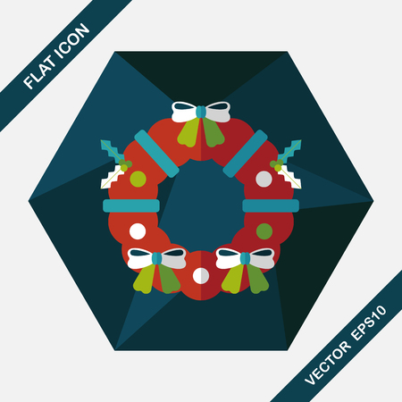 christmas bow: Christmas Holly Wreath flat icon with long shadow,eps10 Illustration