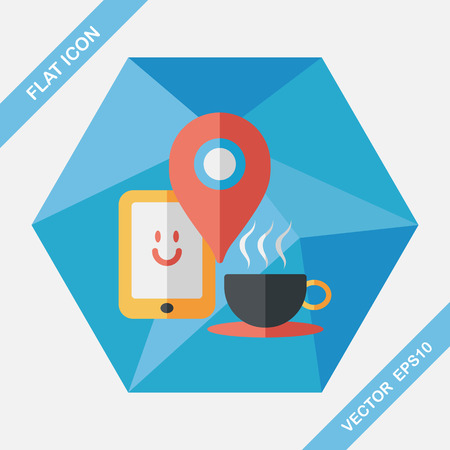 coffeecup: coffee flat icon with long shadow, eps10, When you go to coffee shop, you can check into places and click the like button on social network. Illustration