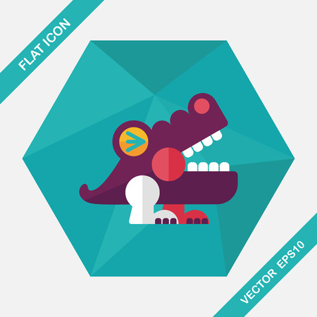 irate: crocodile toy flat icon with long shadow,eps10 Illustration