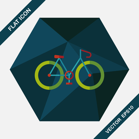 mountain silhouette: Bicycle flat icon with long shadow