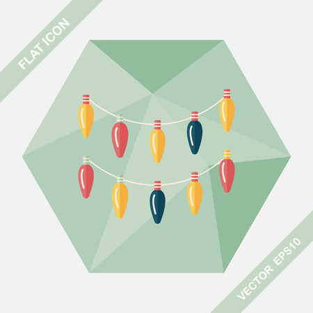 Christmas light flat icon with long shadow,eps10