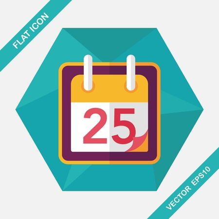 long shadow: Calendar flat icon with long shadow, eps10