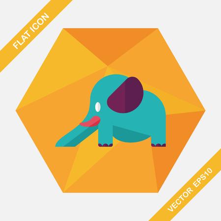 pursuit: elephant slide flat icon with long shadow,eps10 Illustration