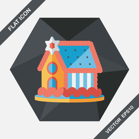 fancy pastry: Gingerbread house flat icon with long shadow,eps10