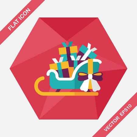 Christmas sleigh gift basket flat icon with long shadow,eps10 Ilustracja
