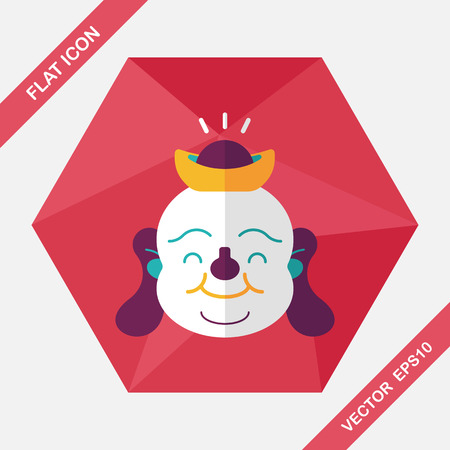 popularity: Chinese New Year flat icon with long shadow,eps10, Maitreya means Bless you have wealth, monasticism and popularity.