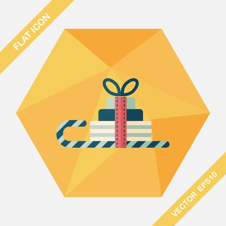 gift basket: Christmas sleigh gift basket flat icon with long shadow,eps10 Illustration
