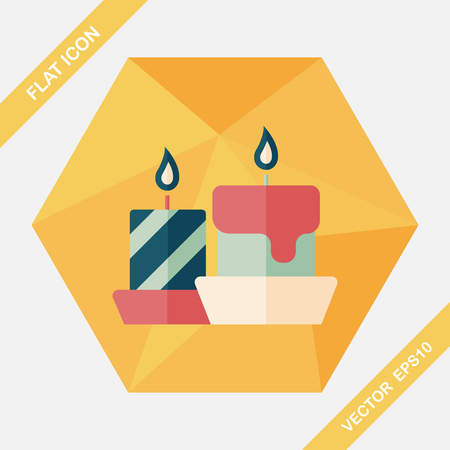 christmas element: Christmas candle flat icon with long shadow,eps10