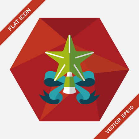 historias biblicas: Christmas star flat icon with long shadow,eps10 Vectores