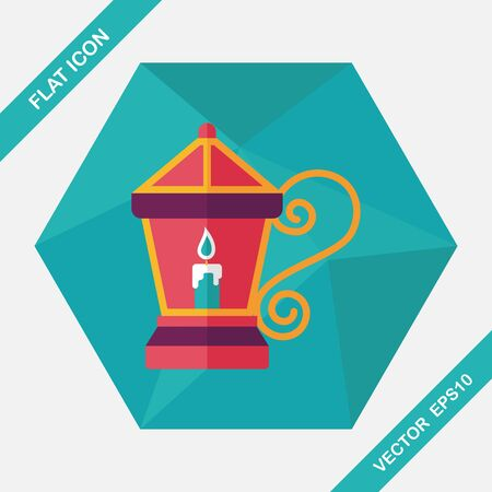 advent candles: Christmas lantern flat icon with long shadow,eps10