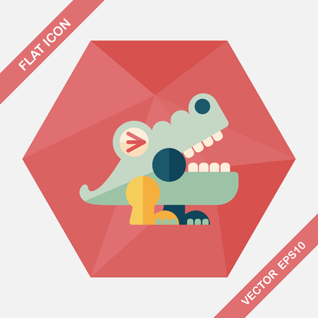 corrientes: crocodile toy flat icon with long shadow,eps10 Illustration