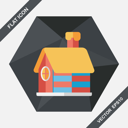 resident: Christmas house flat icon with long shadow,eps10 Illustration