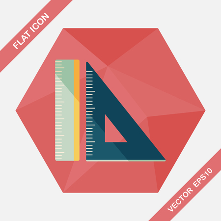 millimeter: Ruler flat icon with long shadow,eps10