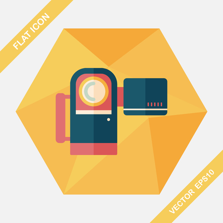 hd: Video camera flat icon with long shadow