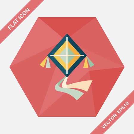 fluctuation: kite flat icon with long shadow,eps10