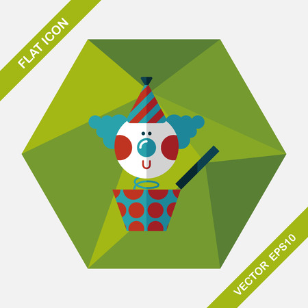 jack in the box: Jack in the box flat icon with long shadow,eps10 Illustration