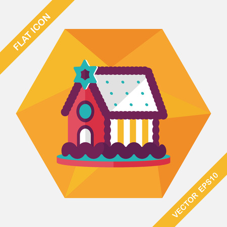 goodie: Gingerbread house flat icon with long shadow,eps10