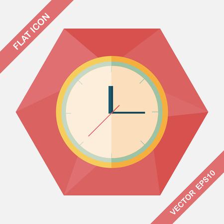symbol sport: Clock flat icon with long shadow,eps10 Illustration