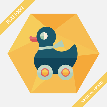 duck toy: duck toy flat icon with long shadow,eps10