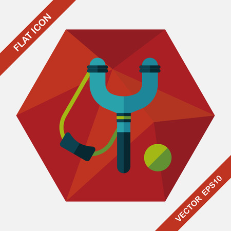 catapult: slingshot flat icon with long shadow,eps10