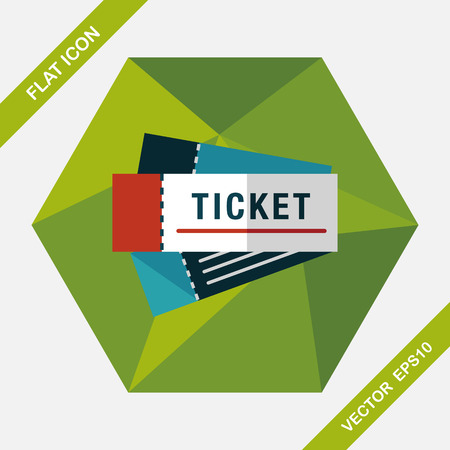 ticket icon: Ticket flat icon with long shadow Illustration