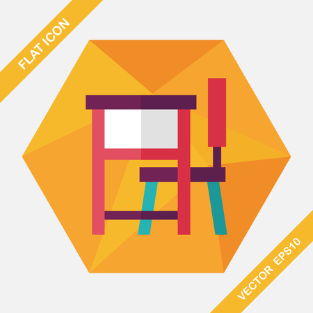 final college: Vintage school desk flat icon with long shadow,eps10