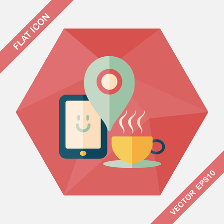 coffee flat icon with long shadow, eps10, When you go to coffee shop, you can check into places and click the like button on social network. Illustration