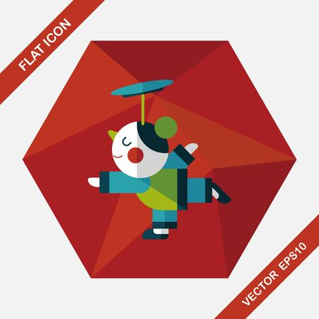acrobatics: Chinese New Year Acrobatics girl flat icon with long shadow,eps10 Illustration