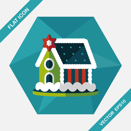 gingerbread house: Gingerbread house flat icon with long shadow,eps10