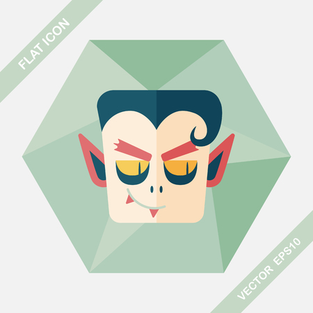 mythological character: Vampire flat icon with long shadow