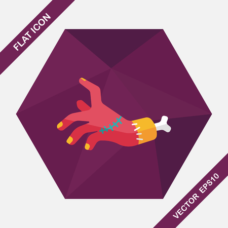 Halloween zombie hand flat icon with long shadow Illustration