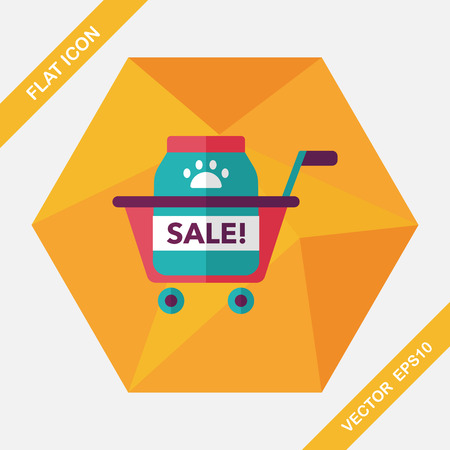 supermarket trolley: Pet sale shopping flat icon with long shadow,eps10