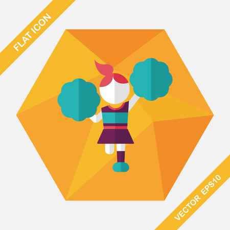 porrista: animadora icono plana con una larga sombra, eps10
