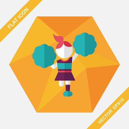 cheerleader: cheerleader flat icon with long shadow,eps10 Illustration