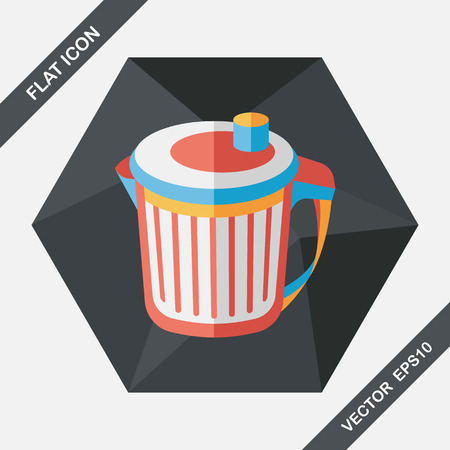 dumpster: kitchenware garbage can flat icon with long shadow,eps10
