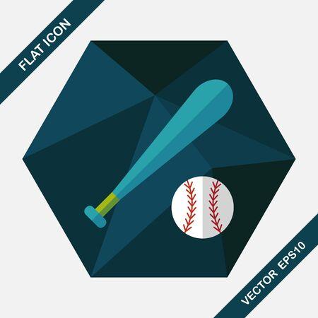 sporting equipment: baseball flat icon with long shadow,eps10