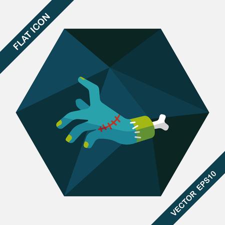 dangle: Halloween zombie hand flat icon with long shadow,eps10