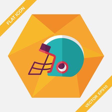 american football helmet set: american football helmet flat icon with long shadow,eps10 Illustration