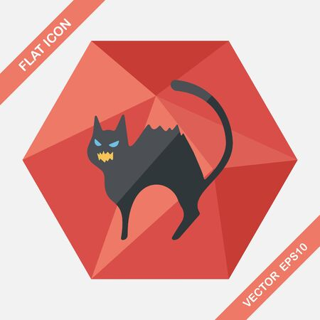spook: Evil cat flat icon with long shadow,eps10
