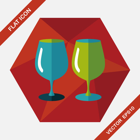 glass cup: kitchenware glass cup flat icon with long shadow,eps10 Illustration