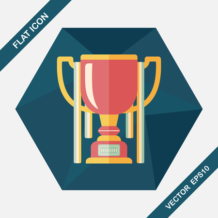 trophy cup: trophy cup flat icon with long shadow,eps10