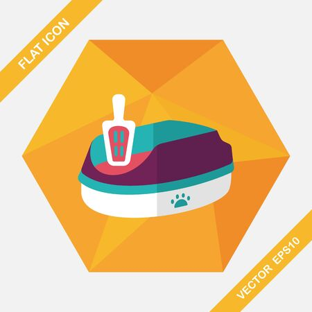 urine: Pet cat litter box flat icon with long shadow, eps10 Illustration