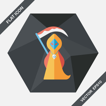 spook: Grim Reaper flat icon with long shadow,eps10